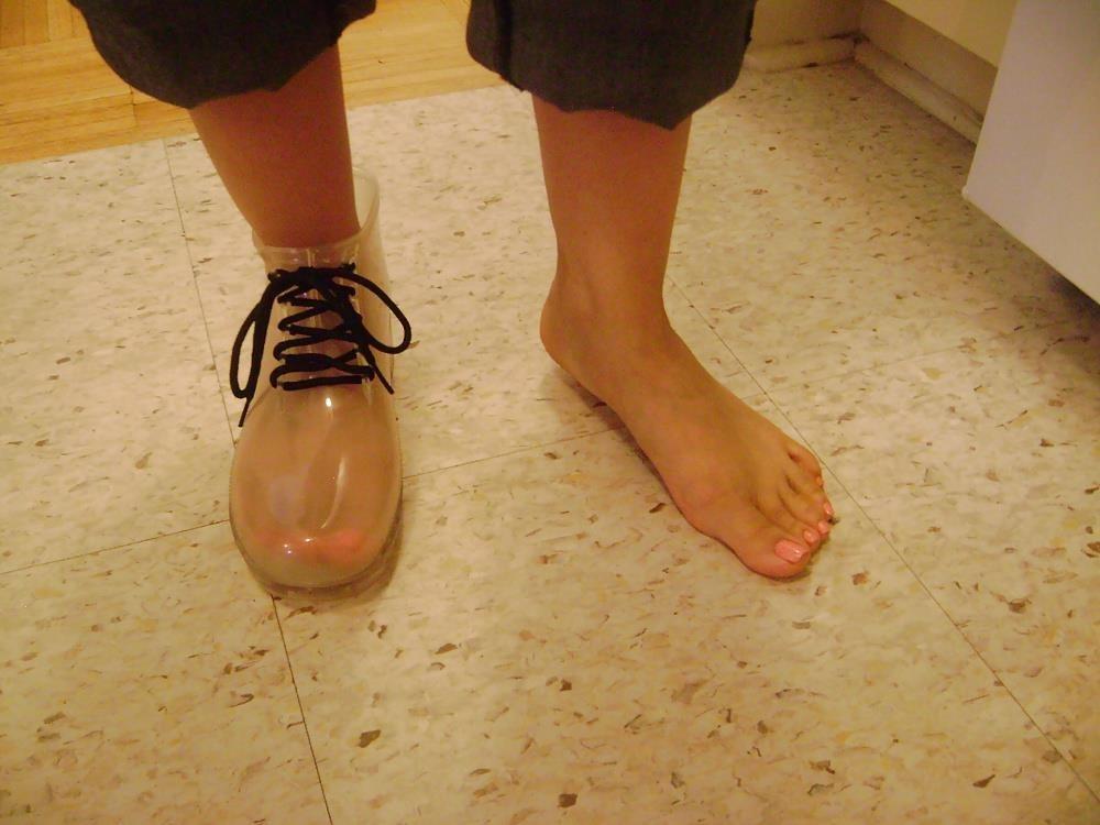 Womens white rain boots-1257