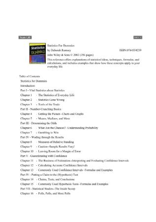 Statistics for Dummies-Rumsey