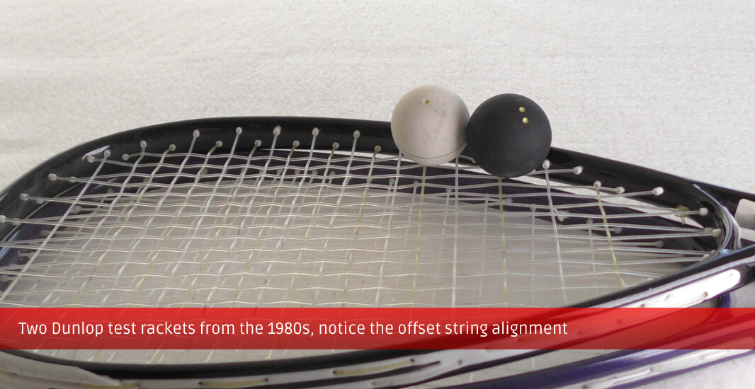 Two Dunlop test rackets from the 1980s, notice the offset string alignment