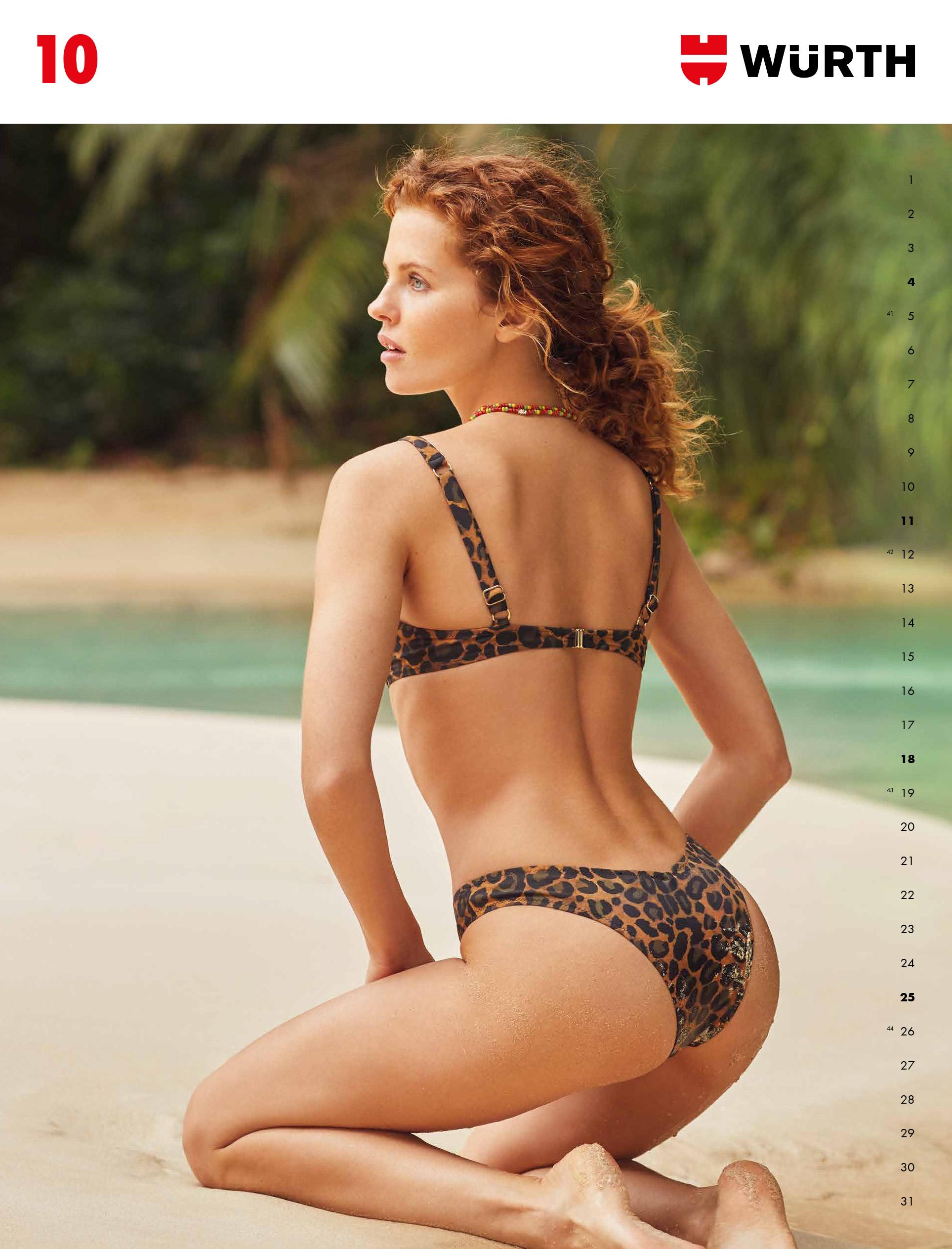 Сексуальные девушки-фотомодели в календаре корпорации Wurth на 2020-й год / октябрь