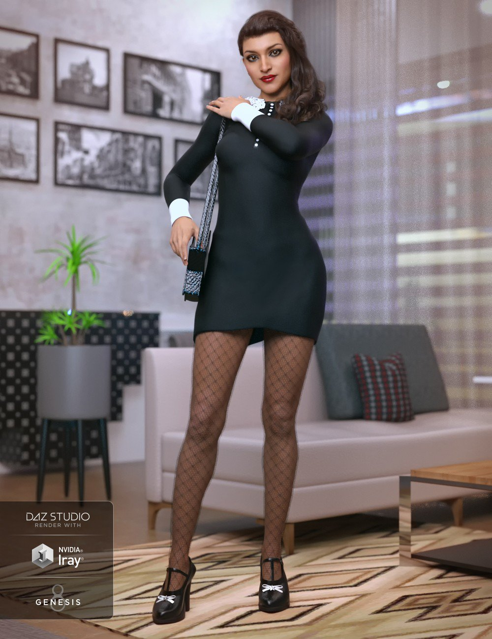 Saturday Night Dress Outfit for Genesis 8 Female