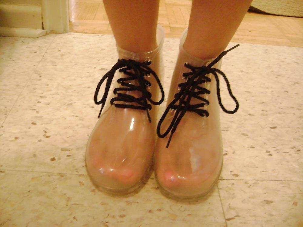 Short red rain boots-8828