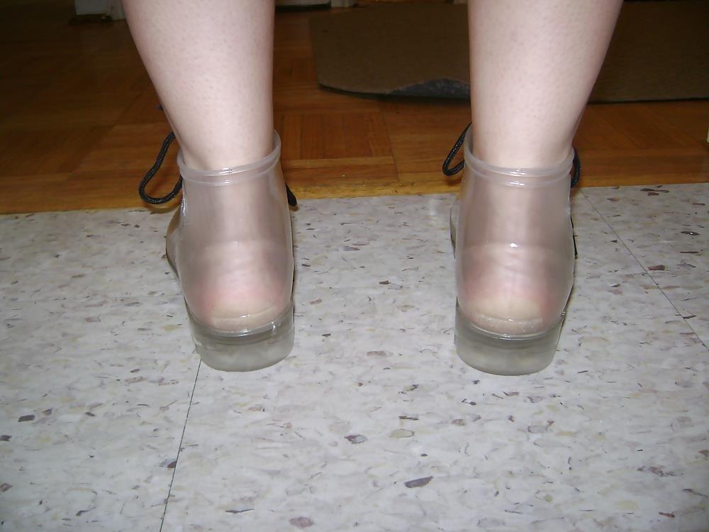 Womens white rain boots-2680