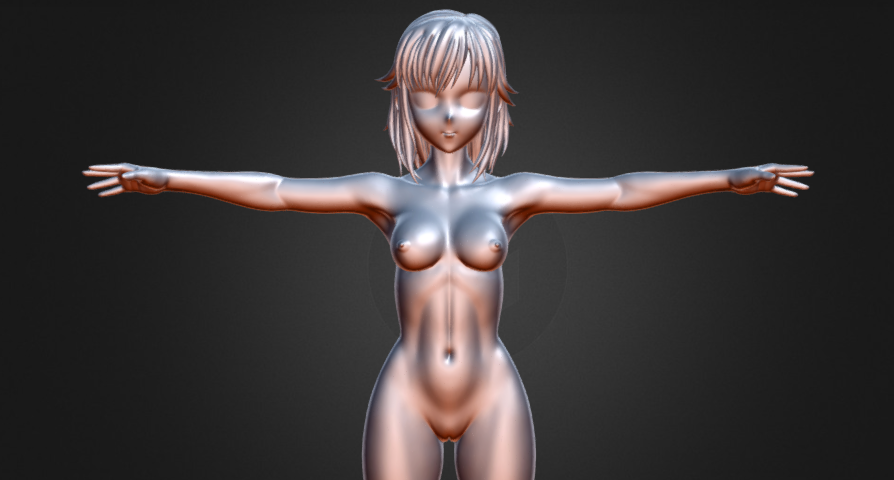 Anime Girl Base Mesh T-Pose (High-Poly only)
