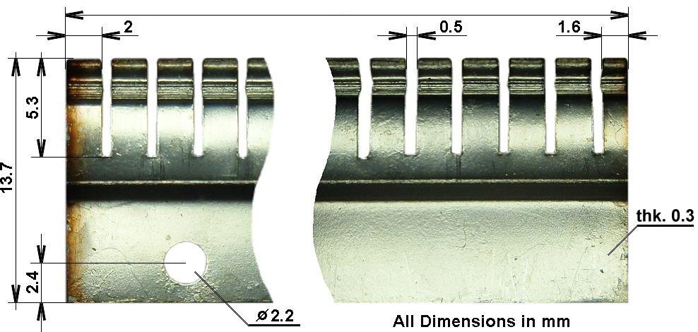 Silvered Beryllium-copper Finger Stock EMI RFI Shielding Gasket 2-5//8 in