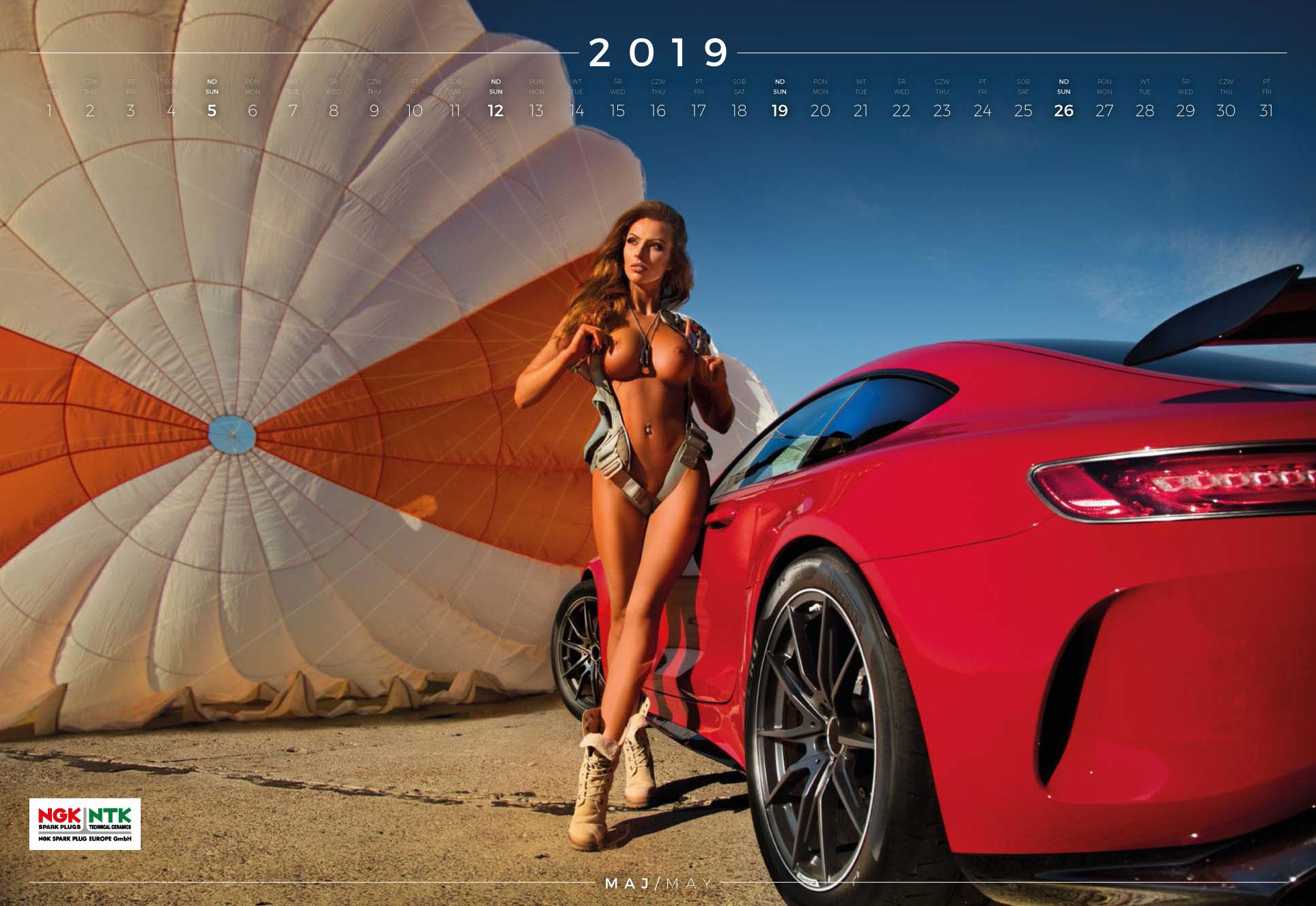 май - эротический календарь 2019 Inter Cars SA / польский дистрибьютор автомобилей, сопутствующих товаров и запчастей
