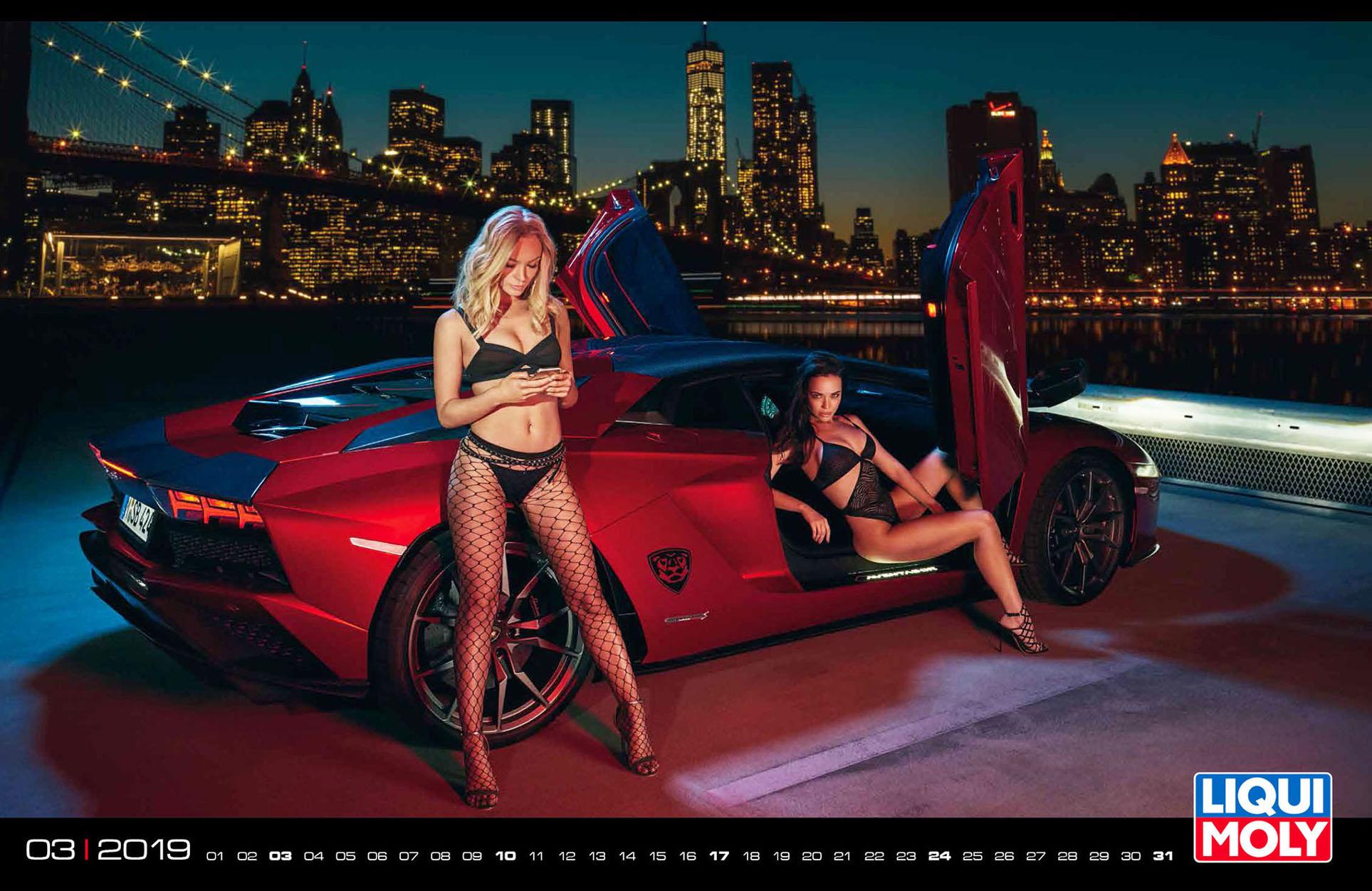 девушки и автомобили в календаре Liqui Moly calendar 2019