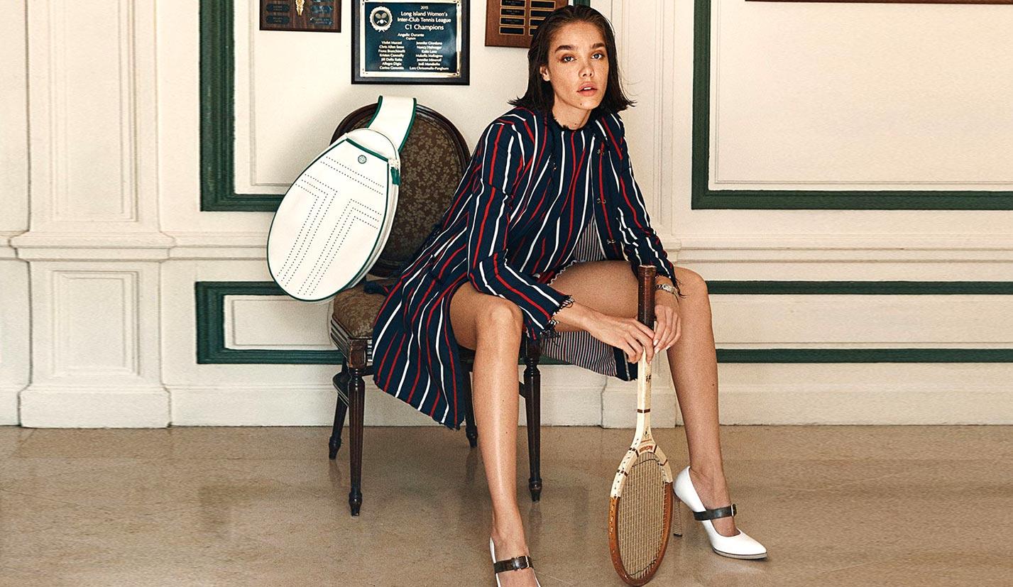 -Королева кортов- Мишель Дантас в модной одежде спортивного стиля
