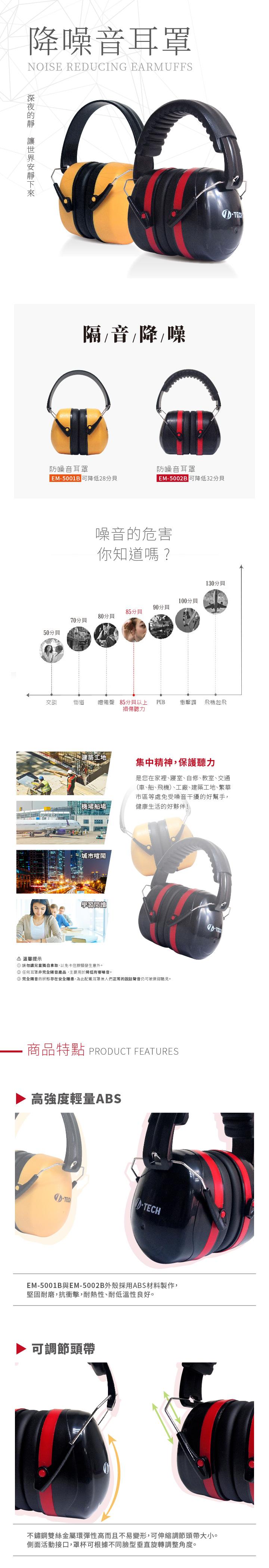 【可降低32分貝防噪音耳罩-紅色】EM-5002B 隔音耳罩 降噪耳機