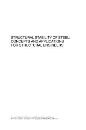 Structural Stability of Steel - Concepts and Applications fo