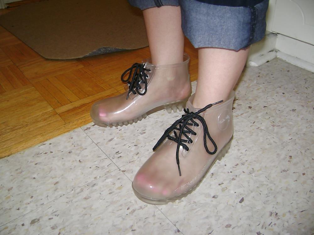 Womens white rain boots-4780