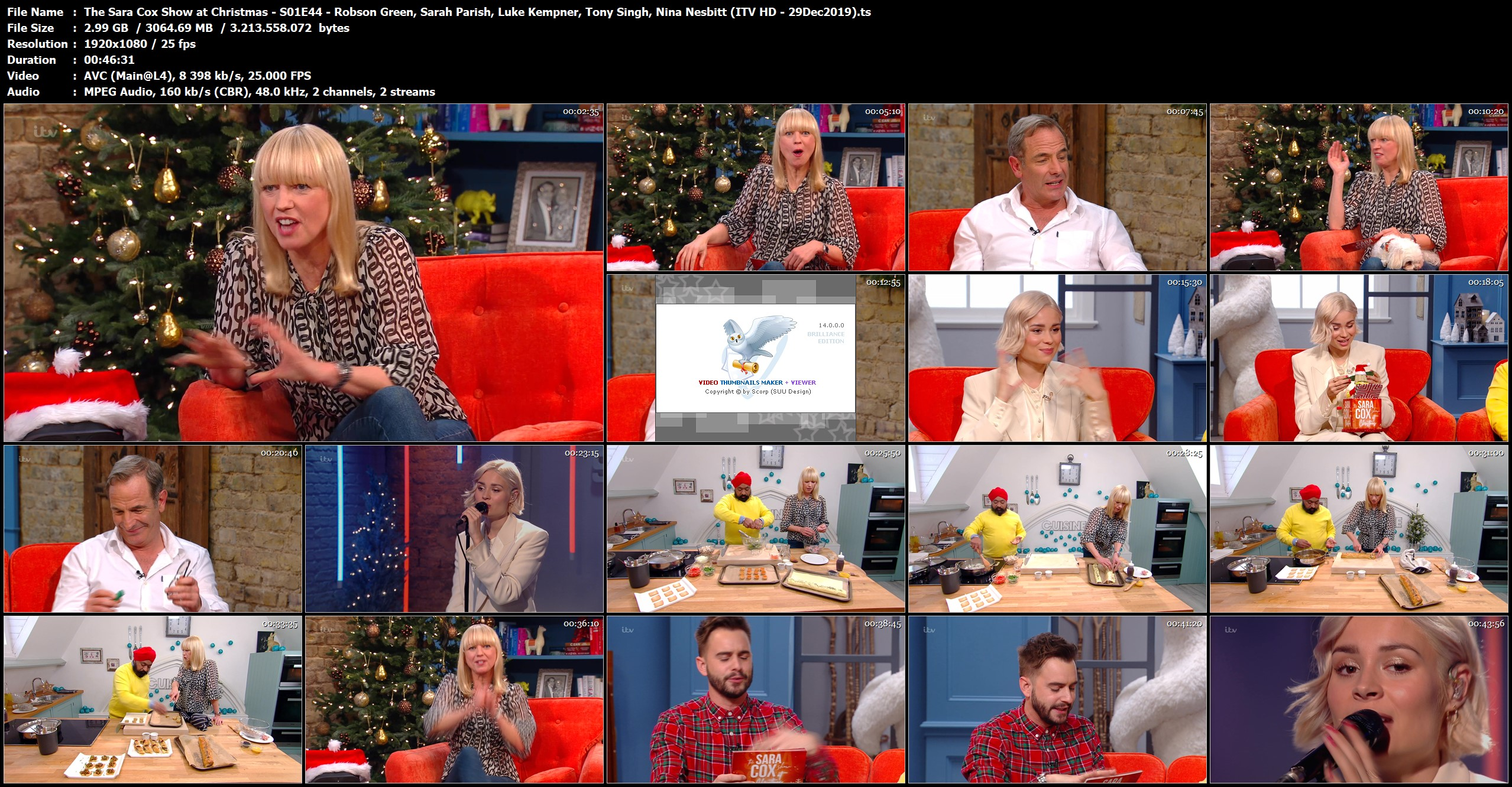 The Sara Cox Show At Christmas S01e44 Robson Green Sarah Parish Luke Kempner Tony Singh Nina Nesbitt 29dec2019 Hd Hqcelebcorner