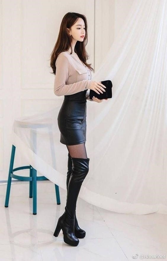 Sexy leather mini skirt-6054