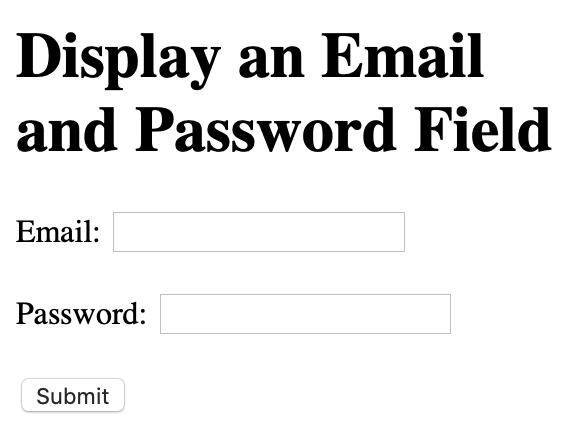 email and password field render