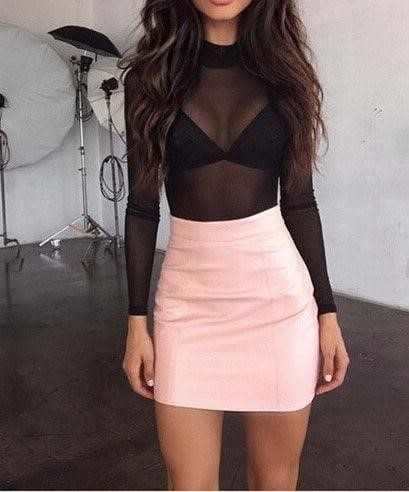 Neon pink leather skirt-3214