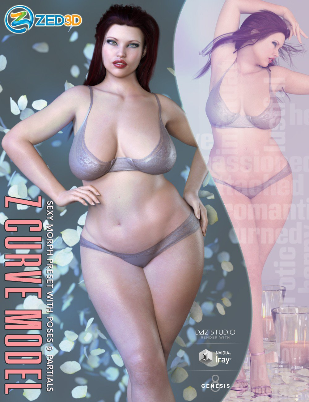 Z Curve Model Shape Preset and Poses for Genesis 8 Female