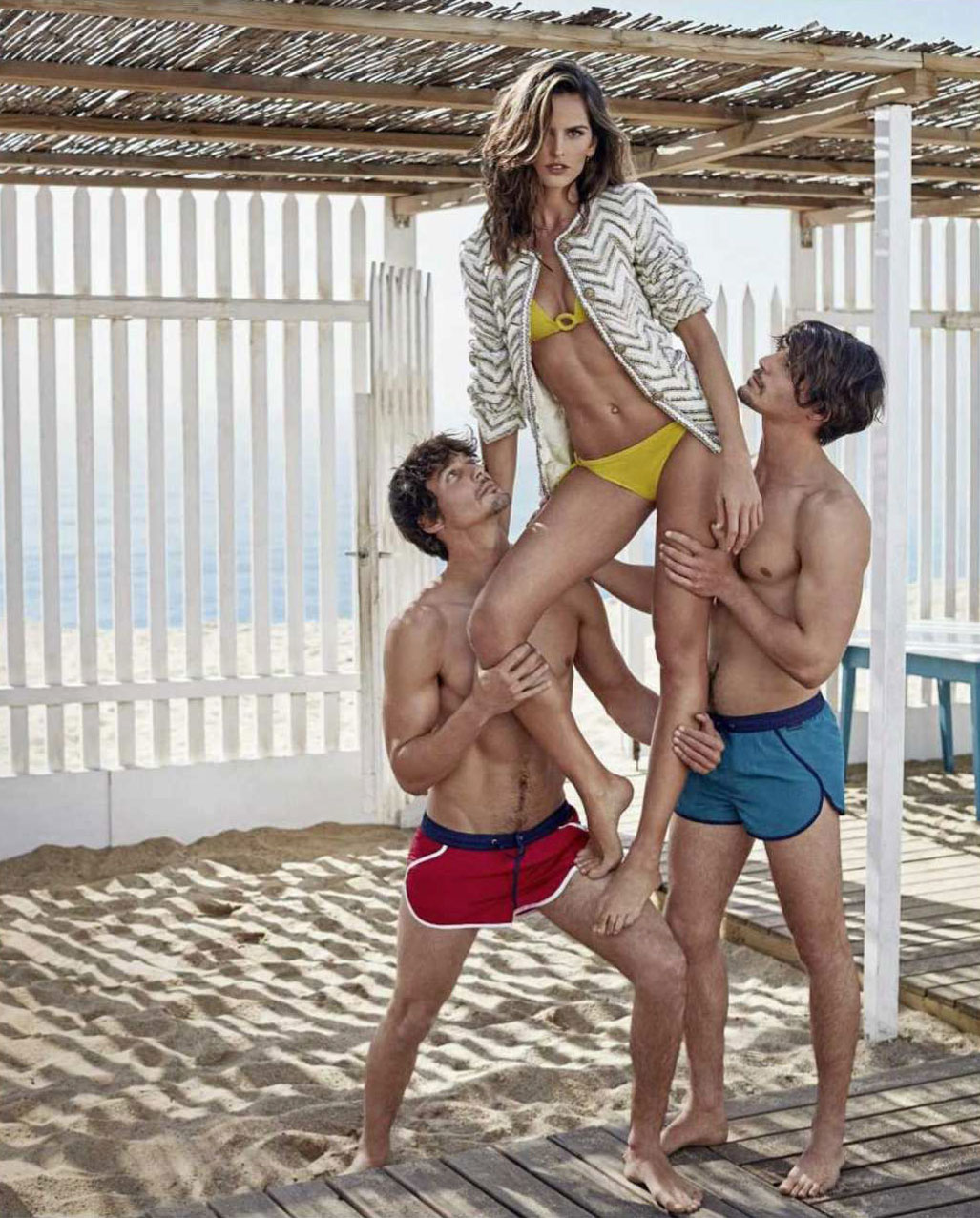Izabel Goulart, Edu Roman, Jorge Roman by Xavi Gordo - Elle Russia june 2018
