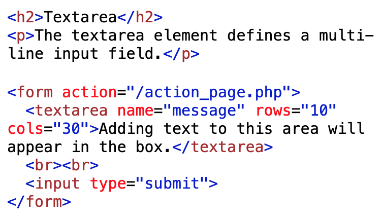 textarea element coding