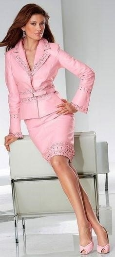 Neon pink leather skirt-9007