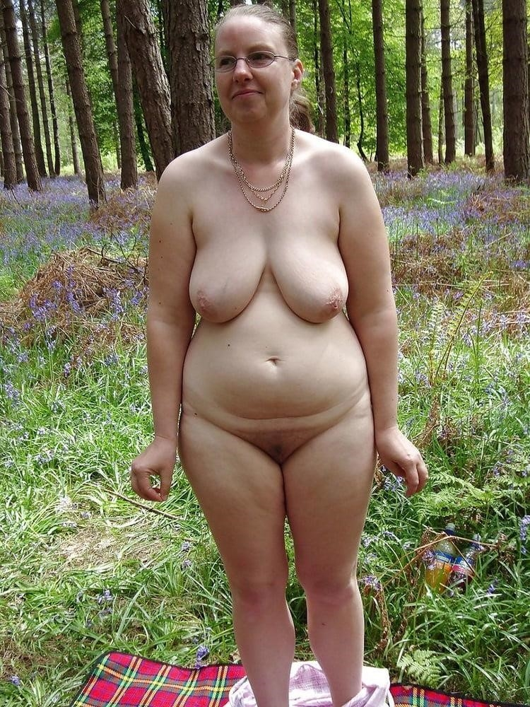Naked wife in the woods-2823