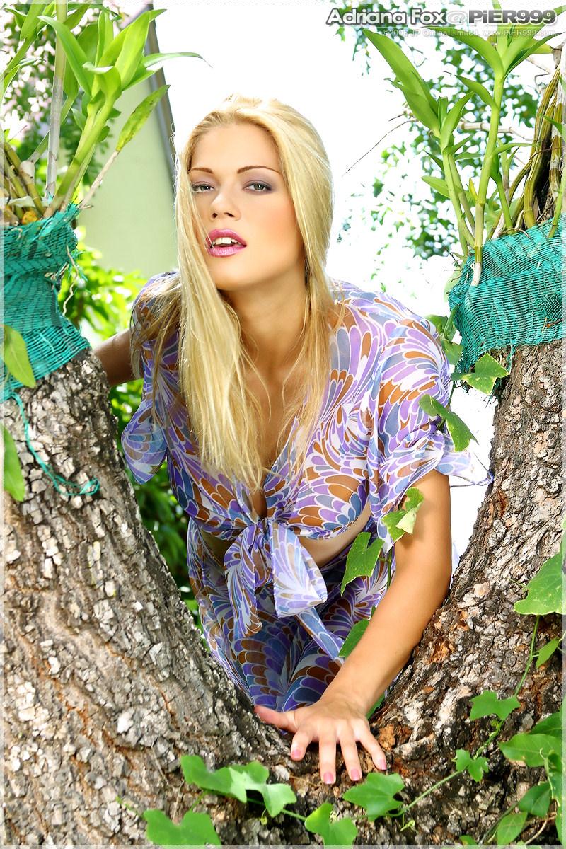Adriana Fox una rubia que lo muestra todo al aire libre