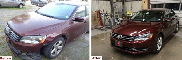 A before and after comparison photo of a burgundy Volkswagen Jetta bumper repair by Automotive Collision Specialists in Fuquay Varina NC.