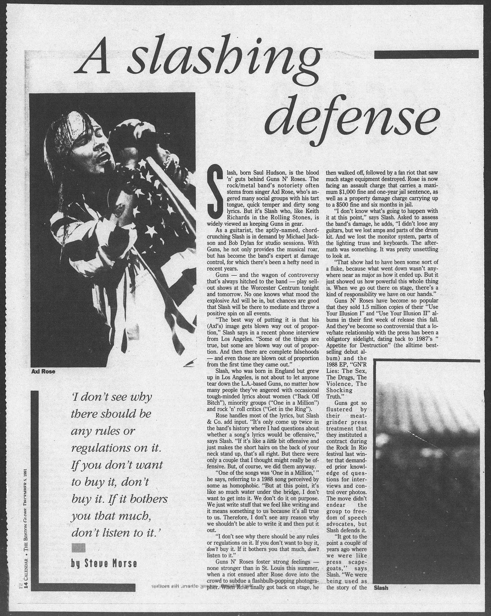 1991.12.05 - The Boston Globe - A Slashing Defense of Guns N' Roses (Slash) AOwJiX4y_o