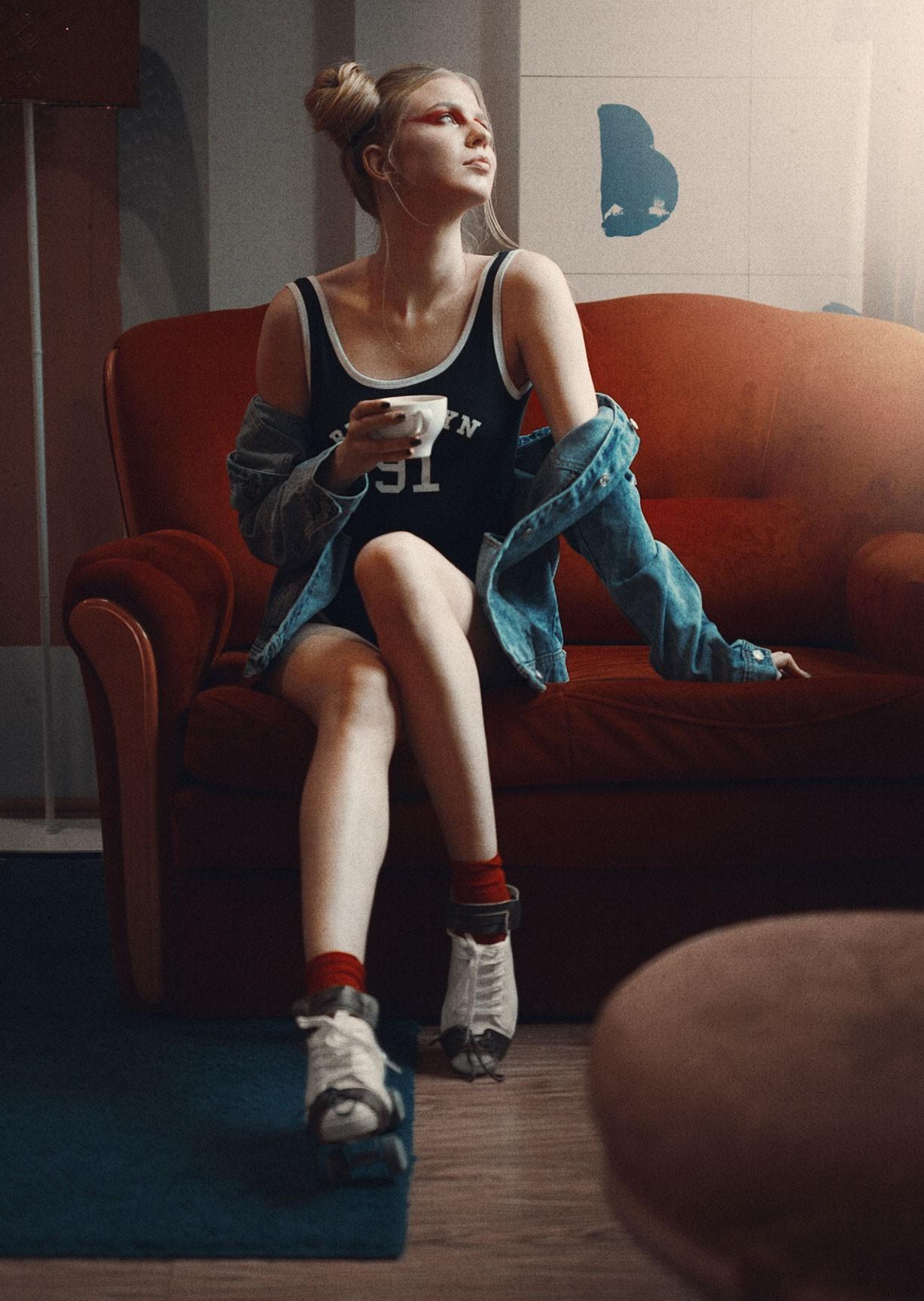 Катя в красных носках и роликах, фотограф Роман Филиппов / Red Sox nostalgie by Roman Filippov