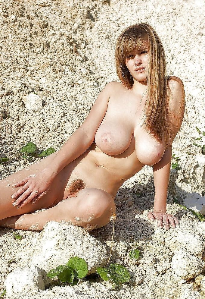 Big boobs nude on beach-4291