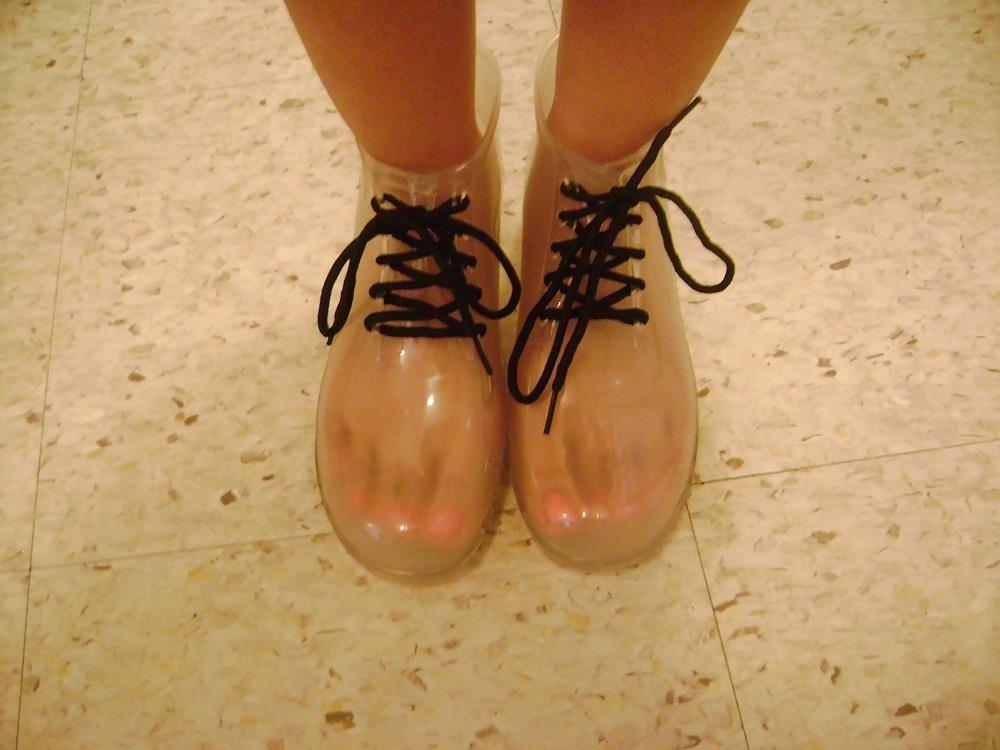 Short red rain boots-1446