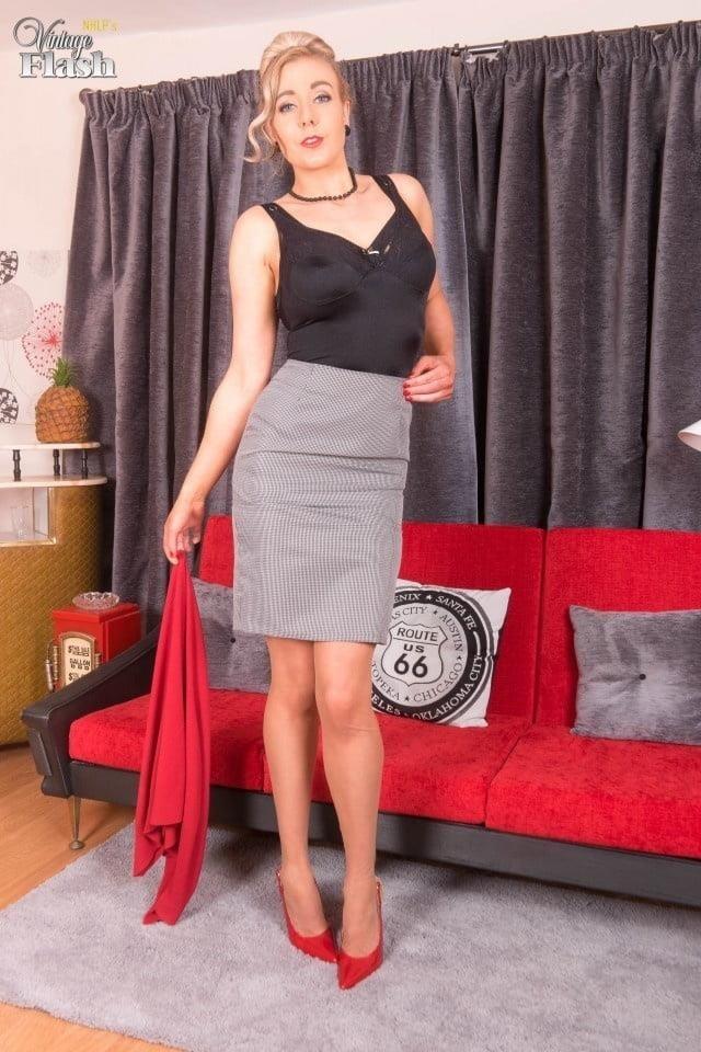Genuine leather pencil skirt-5831