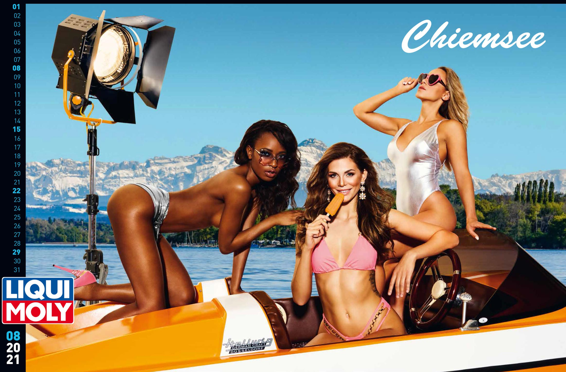 Фирменный календарь с девушками автоконцерна Liqui Moly на 2021 год / август 2021