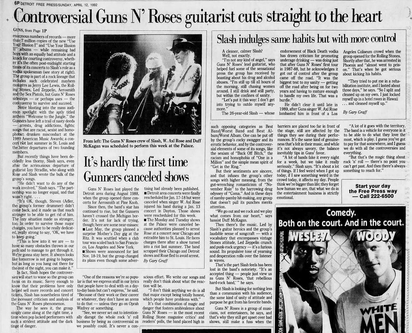 1992.04.12 - Detroit Free Press - Guns N' Roses Guitarist Cuts Right to the Heart (Slash) Sjgv4OMw_o
