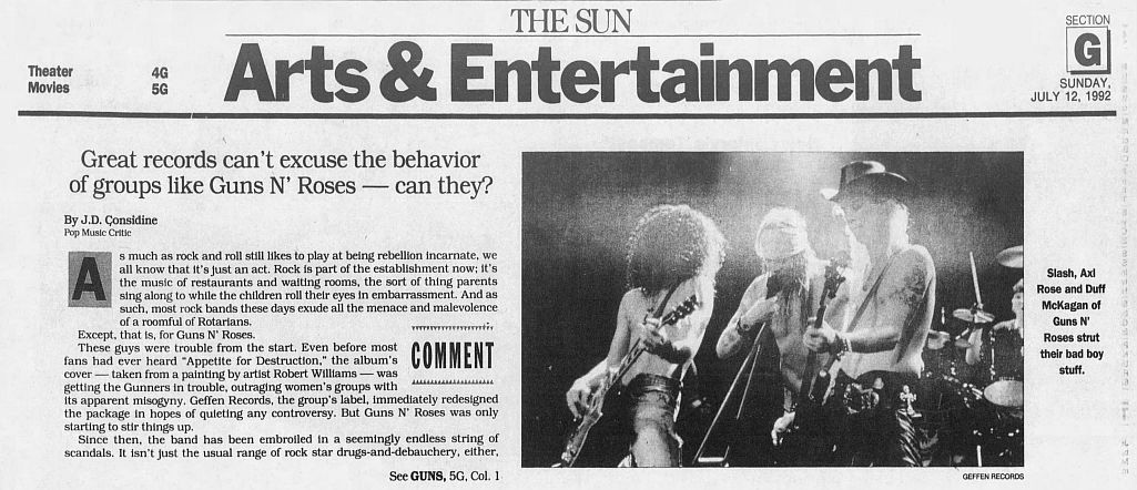 1992.07.12 - The Baltimore Sun - Great records can't excuse the behavior of groups like Guns N' Roses — can they? F6A3X2zn_o