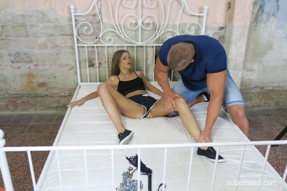 Girl tied up and feet tickled-7027