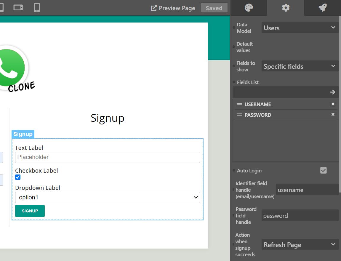 Login/Signup forms config - Sktch.io No-Code Builder