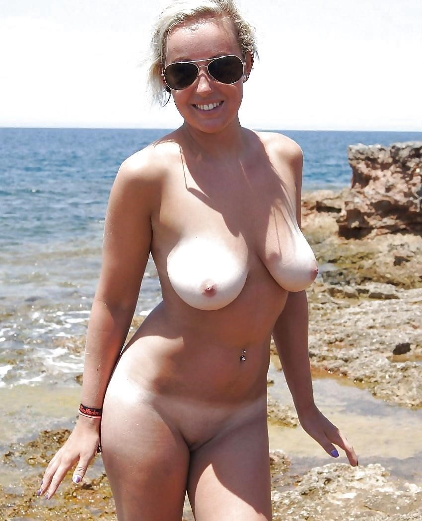 Big boobs nude on beach-1076