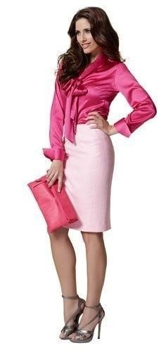 Neon pink leather skirt-2726