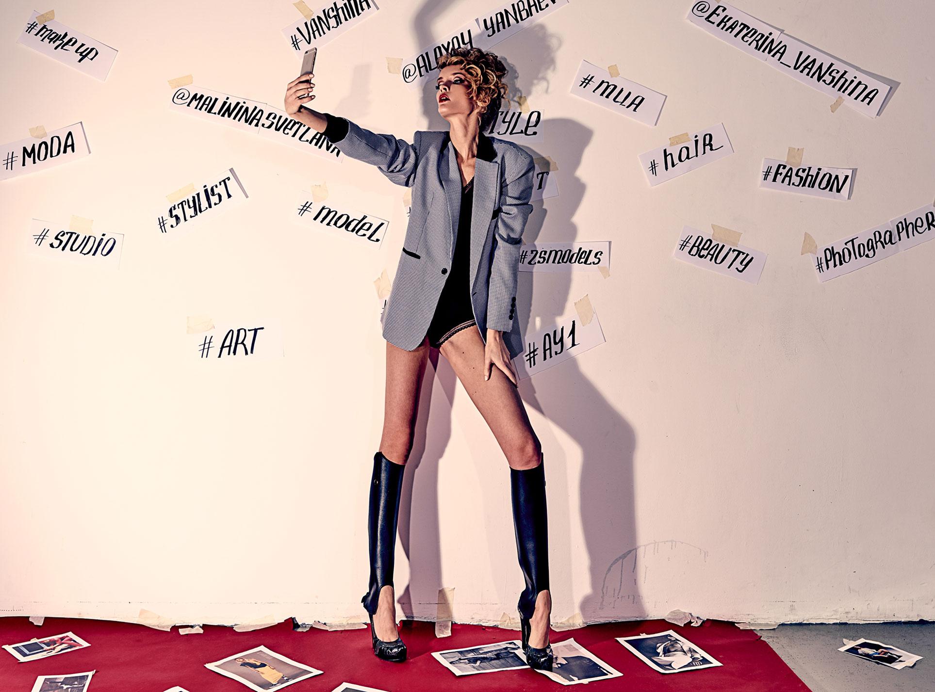 Екатерина Ваньшина и хэштеги в модной фотосессии Алексея Янбаева / фото 01