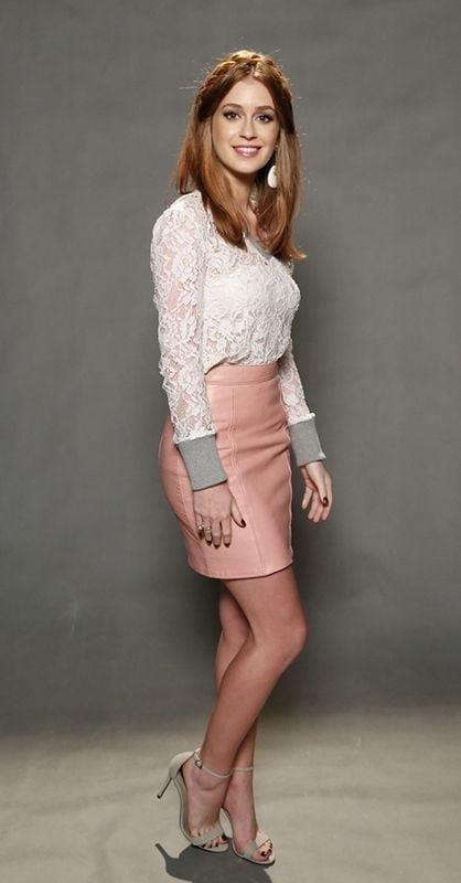 Neon pink leather skirt-2113