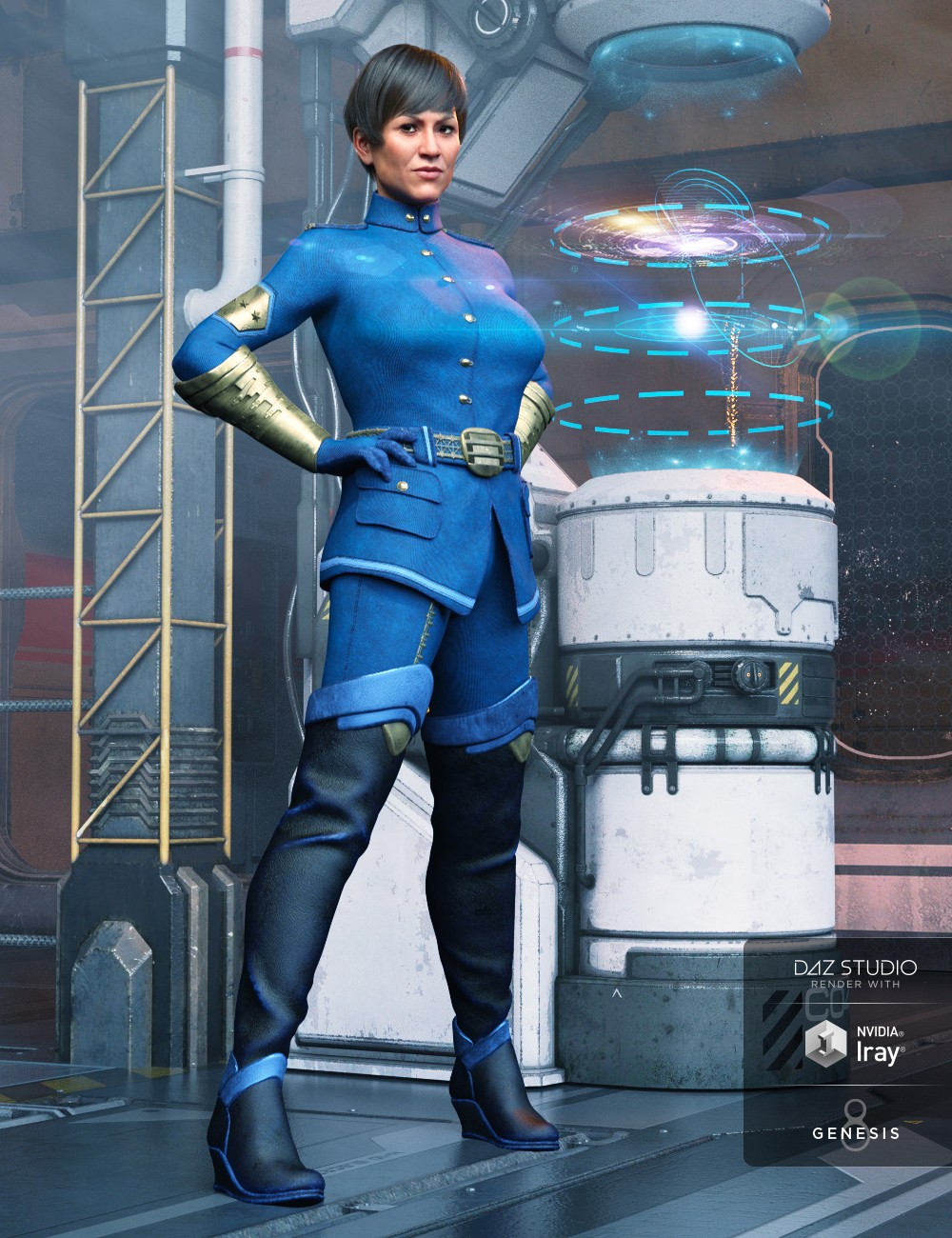 Sci fi Officer Outfit for Genesis 8 Female(s)