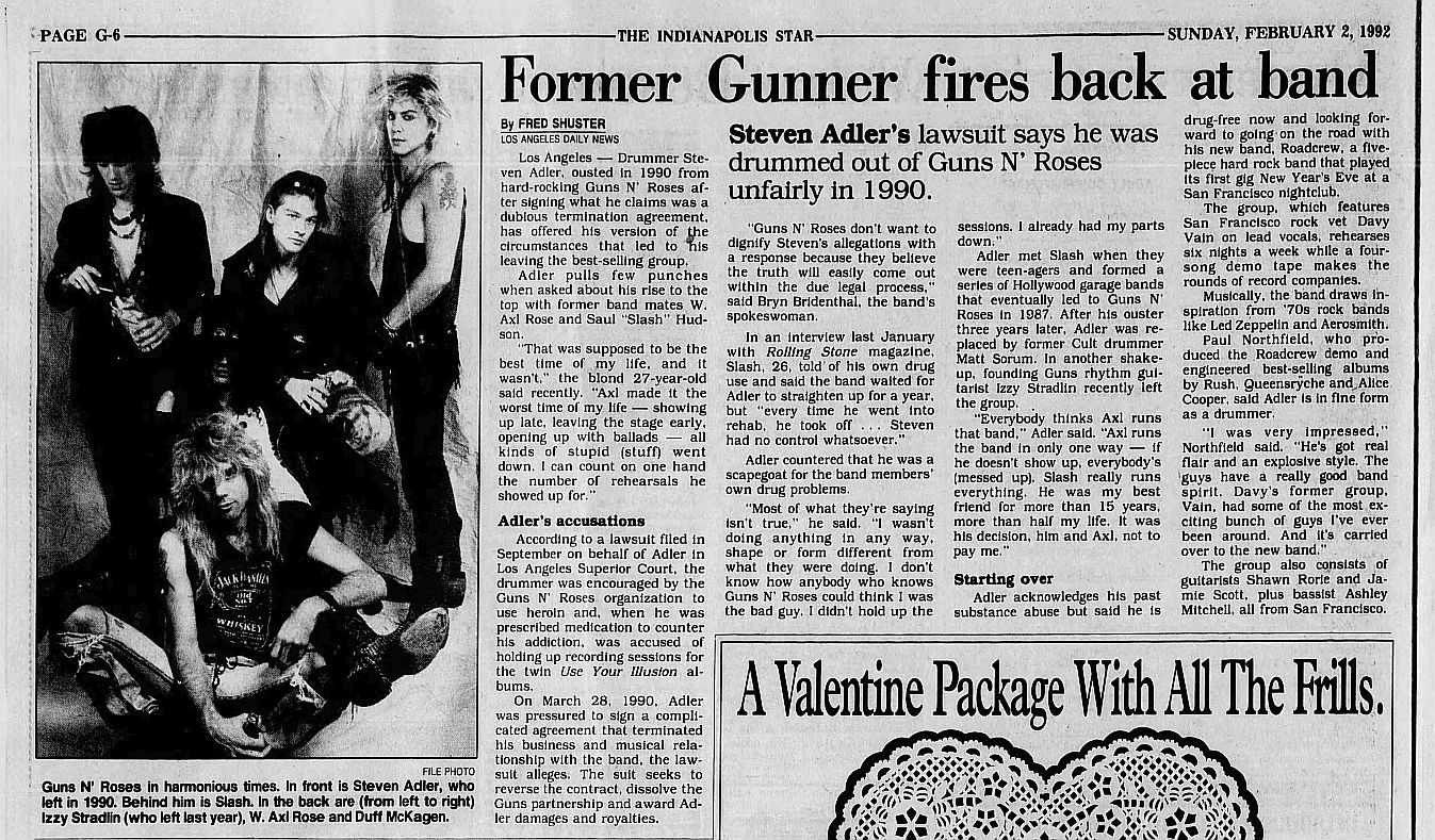 1992.02.02 - Indianapolis Star/LA Daily News - Former Gunner fires back at band (Steven) A63XirnX_o