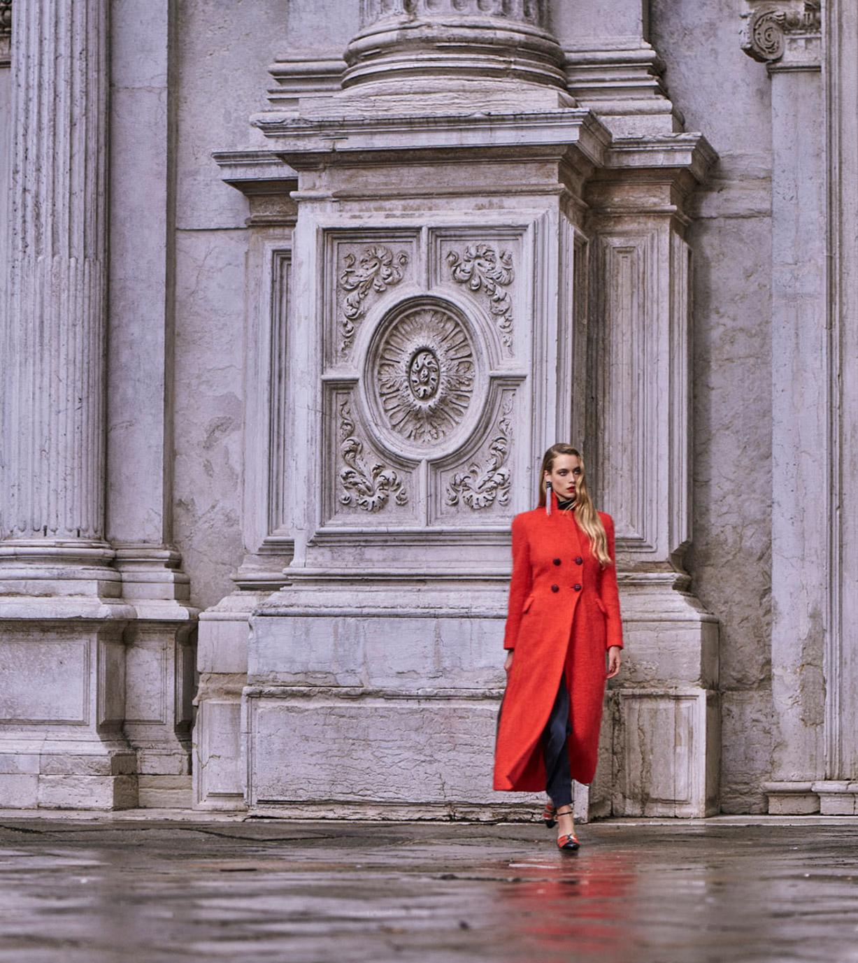 Lady in Red / Hannah Ferguson by Mariano Vivanco / Harpers Bazaar december 2017