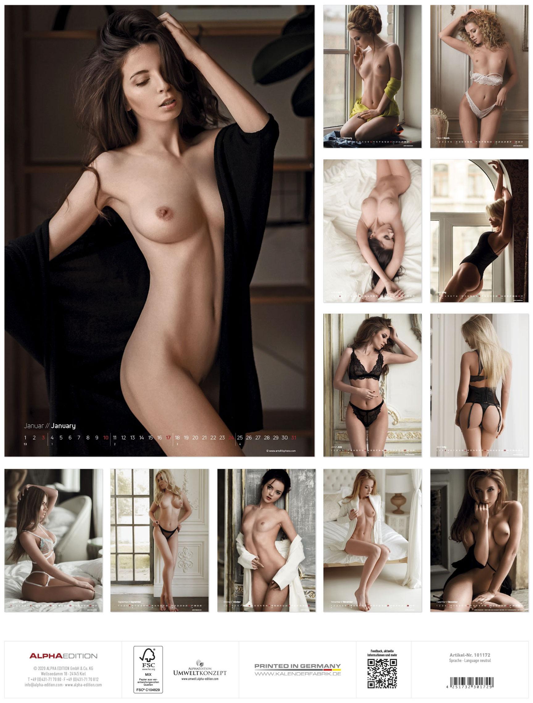 Сексуальные девушки в эротическом календаре на 2021 год / задняя обложка