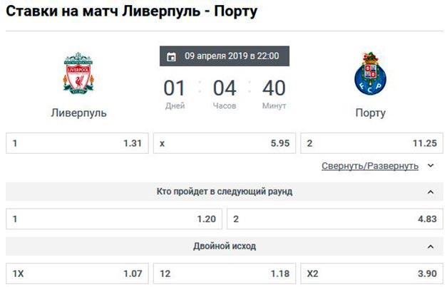 ставки на игру 1/4 финала Лиги Чемпионов Ливерпуль - Порту