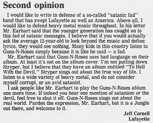 1989.02.21/04.10 - Journal and Courier (Lafayette, IN.) - Readers' letters/Debate on GN'R RwsWoccN_o