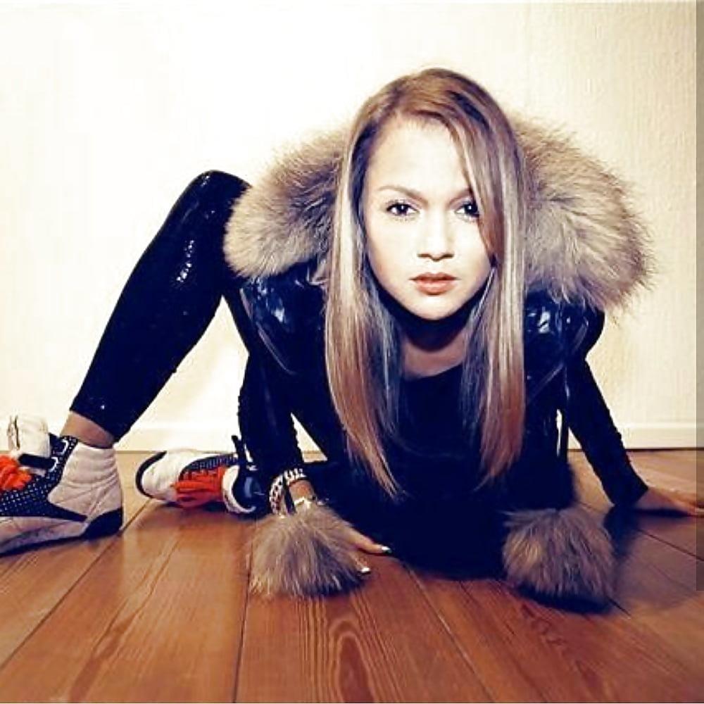 Jean jacket with brown fur-6443