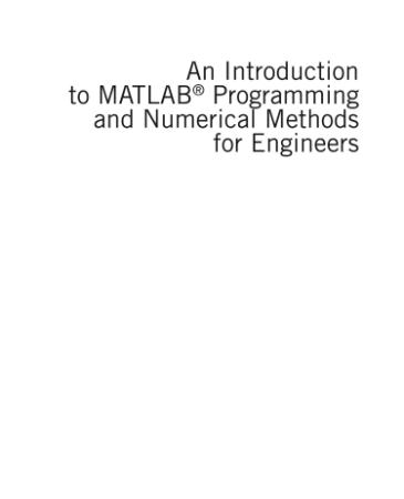 An Introduction to MATLAB Programming   Timmy Siauw