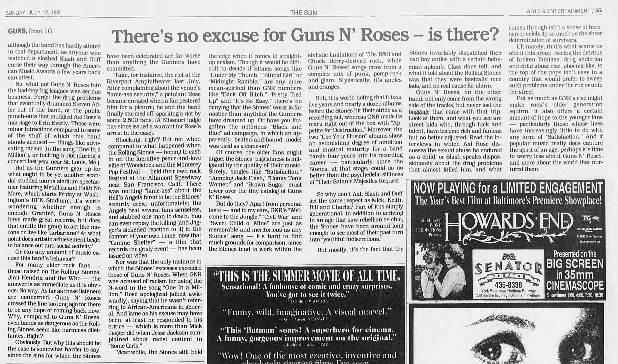 1992.07.12 - The Baltimore Sun - Great records can't excuse the behavior of groups like Guns N' Roses — can they? XdmVfghi_o
