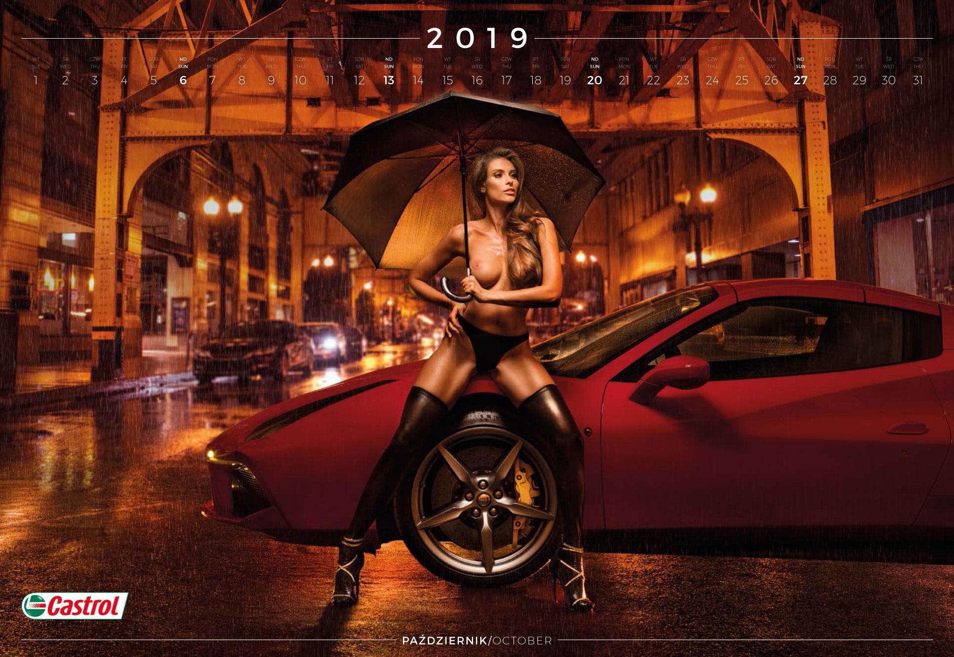 октябрь - эротический календарь 2019 Inter Cars SA / польский дистрибьютор автомобилей, сопутствующих товаров и запчастей